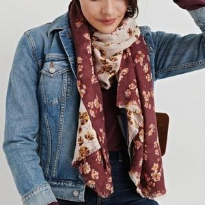 Lucky Brand Floral Printed Purple Duofold Scarf